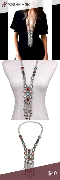 Necklace Silver chic maxi Necklaces Vintage long tassel pendant Statement Necklaces Jewelry Necklaces
