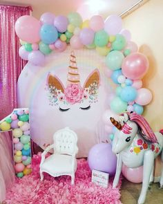 Feast your eyes on this beautiful unicorn birthday party! Love the party dec. Feast your eyes on this beautiful unicorn birthday party! Love the party decorations! Diy Unicorn Birthday Party, Unicorn Birthday Decorations, 1st Birthday Party For Girls, Unicorn Birthday Invitations, Party Ideas For Girls, Purple Party Decorations, Birthday Centerpieces, 5th Birthday, Birthday Ideas