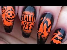 Halloween Nail Art Stamping Tutorial-Gel Polish & Pigment Demo