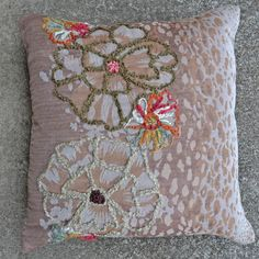 Jenna-Brown 20x20 Embroidered Pillow [#2089]