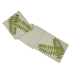 """Mother Day Gift, Customized, Free Shipping #etsy shop: Linen Table Runner 14"""" x 64"""", Natural Linen Green Leaves Embroidery, Floral Table Runner, Long Table Runner, https://etsy.me/2vpndEQ #housewares #embroideredlinen #linentablerunner #tablerinner #naturallinenrunner"""