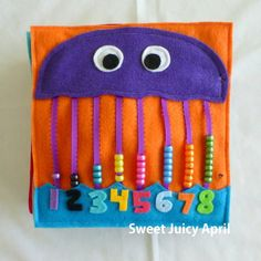 NEW Jellyfish Bead Counting Quiet Book Page image 1 Diy Quiet Books, Baby Quiet Book, Felt Quiet Books, Baby Crafts, Felt Crafts, Crafts For Kids, Fidget Blankets, Quiet Book Patterns, Pattern Books