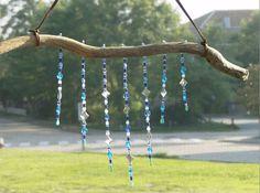 Sun / Light Catcher, Windchime Mobile - Blue Glass Beads & Diamond Shaped Mirrors, Drift Wood