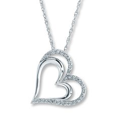 Kay - Diamond Heart Necklace 1/4 ct tw Round-cut Sterling Silver