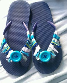 Flip flops...ribbons & button