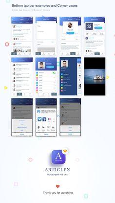 Articlex- Multipurpose iOS application design on Behance Ios App Design, Web Ui Design, Mobile App Design, Mobile Application Design, App Design Inspiration, Mobile App Ui, Behance, Layouts, Software