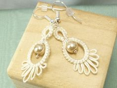 Tatted Lace Earrings in with glass beads -Frilly Drips MTO your color choice