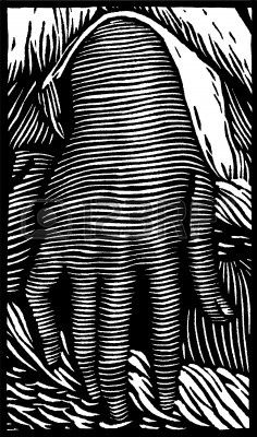 A woodcut style depiction of a female hand