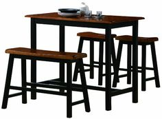 Crown Mark Tyler 4-Piece Counter Height Table Set:Amazon:Home & Kitchen
