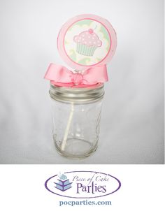 Tired of goodie bags?  A cupcake Whirly Pop makes a cute party favor.  This one is tucked into a mason jar sippy cup - which when filled with candy, also makes a great party favor!  By Piece of Cake Parties.  Charming.  Effortless.  Affordable.