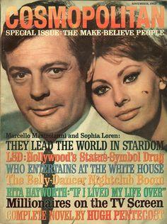 Cosmopolitan magazine, NOVEMBER 1963 Marcello Mastroianni & Sophia Loren on cover. Movie Magazine, Cool Magazine, Life Magazine, Magazine Covers, Sophia Loren, Cosmopolitan Magazine, Instyle Magazine, Marcello Mastroianni, Celebrities Then And Now