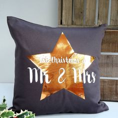The Alphabet Gift Shop Personalised Mr And Mrs Christmas Cushion