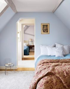 Pastel blue makes for a soothing bedroom.