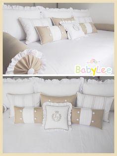 Kit cama auxiliar/babá com tecido percal 180 fios branco e linho bege....puro glamour. www.babylee.com.br