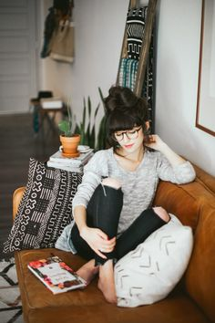 New Darlings - Top Knot Bun and Glasses - Cozy sweaters at home