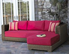 Patio Wicker Chaise Sectional with a Touch of Red via @wickerparadise #outdoor #patio #wicker #sectional #red www.wickerparadise.com