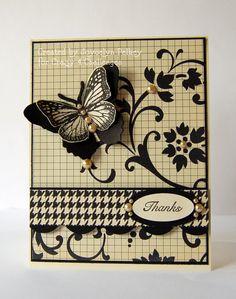 Stamps 'n' Coffee: Black & Tan/Beige Butterfly card.