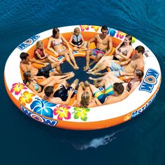 Pool Floats Features - Large inflatable island - 12 ft. diameter - Large inflatable island,Constructed from heavy-duty PVC - Fits 12 people - 12 mesh seats - Large opening in center for easy access - Large grommet for tying off - Anchor bag and rope included
