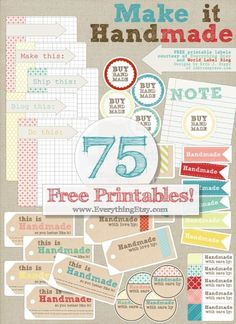 75 Free Printable Labels {Make it Handmade}...a little something for everyone!