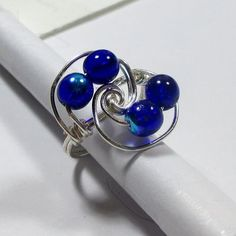 DWJ Trendy Cobalt Blue Czech Glass Spiral Wire Wrapped Ring Size 6-10