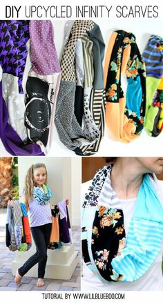 DIY Upcycled Infinity T-Shirt Schal - Refashion - - Sewing Projects Diy Scarf, Scarf Shirt, Make A Scarf, T Shirt Scarves, Diy Clothing, Sewing Clothes, Sewing Shirts, Ropa Upcycling, Shirt Diy