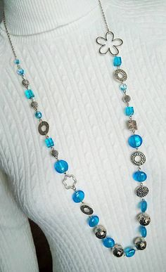 Gennt / Dlhý náhrdelník - korálky vo farbe mora / long necklace