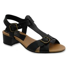 Boosted in height by a modest heel, these sandals feature an adjustable buckle for a tight fit and an open design to showcase fresh pedicures. Bass Amps, Leather Sandals, Boho Chic, Tights, Heels, Casual, Grunge, Black, Fashion