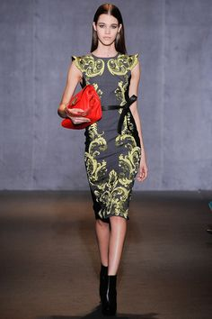 I like his scrollwork pieces. This is my favorite silhouette, although my favorite color combo is the purple on deep green.