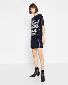 Image 1 of SEQUINNED TEXT DRESS from Zara