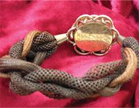 18th Century Hairwork Bracelet: By the 18th century, women began to find professional work behind the scenes doing table-working for hair. Such artists as Limmonier wrote about the qualities of hairwork.