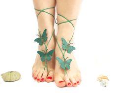 Barefoot sandal Butterfly Barefoot Sandal Green by CatsAndSheeps, $25.00