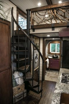 This is a beautiful Tudor-style tiny house on wheels by Tiny Heirloom. It was featured on a recent episode of their television series, Tiny Luxury which is on the HGTV/DIY Network. Tiny House Stairs, Tiny House Cabin, Tiny House Living, Tiny House Plans, Tiny House On Wheels, Tiny Houses, Tiny House Luxury, Luxury Homes, Tiny House Bedroom