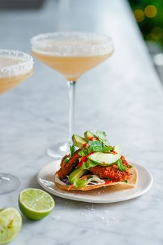 Cocktails And Canapes, Perfect Margarita, Garlic Prawns, What Recipe, Green Fruit, Tostadas, Tacos, Coriander, Fish Recipes