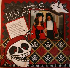 Layout: PIRATES  Love the costumes and the layout embellishments...remember for that year we all dressed like pirates for Halloween.