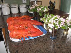 Lobster & mayflowers. Cooked and picked at the camp.
