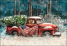 Christmas Card 74798 - All the old-fashioned, heartwarming… Christmas Red Truck, Boxed Christmas Cards, Christmas Scenes, Country Christmas, Christmas Printables, Christmas Pictures, Christmas Art, Winter Christmas, Christmas Windows