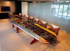Conference table that is made out of an airplane wing.