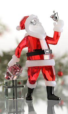 Swarovski Santa Claus 2013 Z Swarovski Crystal Figurines, Swarovski Crystals, Christmas Pictures, Red Christmas, Christmas Colors, Swarovski Outlet, Glass Figurines, Crystal Decor, Crystal Collection