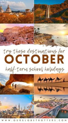 A selection of easy to reach from the UK plus intriguing places around Europe, the Middle East and Africa ideal for mid-autumn family adventures | Best Destinations in October | How to spend the October half-term break | Our Globetrotters Family Travel Blog Adventure Holiday, Family Adventure, Adventure Travel, Travel Ideas, Travel Inspiration, Travel Tips, Cool Places To Visit, Great Places, Amazing Destinations
