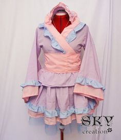 CUTE wa lolita  pastel kimono dress!! something like what they wore on K-ON don't you think?