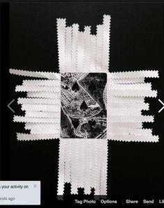 Charlotte Graham  cardshark manu series tirairaka/ fantail lino on card stitched plastic film paper 2014  http://www.charlottegraham.co.nz/shop/