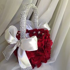 Items similar to red flower girl basket with hydrangea petals and brooches for wedding and keepsake that is vintage inspired on Etsy Flower Girl Bouquet, Flower Girl Basket, Flower Girls, Red Flower Girl Dresses, Wedding Cake Red, Red And White Weddings, Rings For Girls, Christmas Wedding, Bridesmaid Gifts