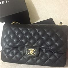 d25fed4bffa7e7 CHANEL Jumbo Classic Caviar Flap Bag Brand: Chanel Style: Classic Flap Bag  Type: