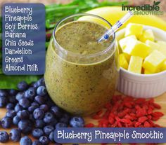 Blueberry Pineapple Smoothie  1 cup fresh or frozen blueberries 1 cup pineapple, cubed 2 tablespoons goji berries, soaked for 5 minutes 1 banana, peeled 1 tablespoon chia seeds, soaked for 5 minutes 3 cups baby kale (I subbed dandelion greens) 8 ounces (236 ml) unsweetened almond milk