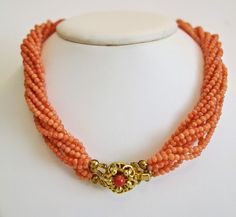 1950 from akaham on Ruby Lane Vintage natural Coral bead necklace 9 strandsca. 1950 from akaham on Ruby Lane Gold Jewelry Simple, Coral Jewelry, Bridal Jewelry, Jewelry Gifts, Bead Jewellery, Beaded Jewelry, Beaded Necklaces, Necklace Packaging, Necklace Designs