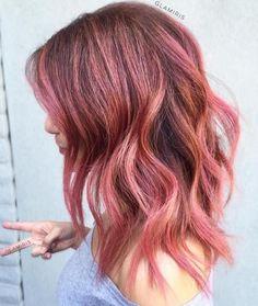 Medium Length Rose Gold Balayage Hair