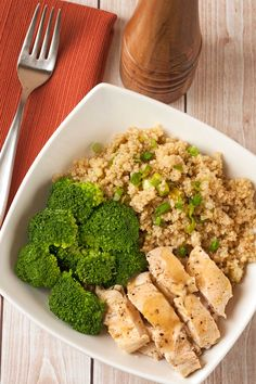 Lemon-Pepper Chicken Quinoa Bowl: A healthy, one-dish quinoa bowl topped with lemon-marinated chicken breasts, steamed broccoli and a tangy lemon-pepper pan sauce.