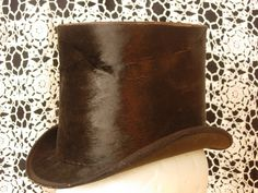 Antique Beaver Skin Top Hat by AtticFanaticUS on Etsy