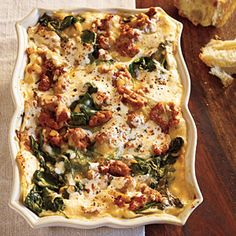 Turkey Sausage and Spinach Lasagna Recipe (Cooking Light)  YUM! Even the boys liked it. We used breakfast turkey sausage, and decided we'd up the sausage and downplay the spinach (maybe 8ish oz.)
