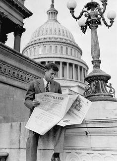 JFK reads a newspaper on Capital Hill, November 1946.